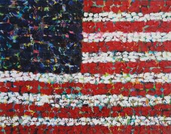 American Flag oil on canvas, 12