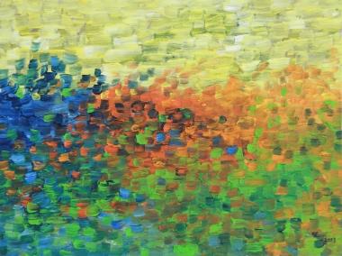 Orange Meadow, oil on panel, 10